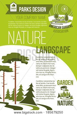 Green parks and nature landscape design company vector poster with design of eco village or woodland and parkland trees in forest. Urban horticulture and planting association template
