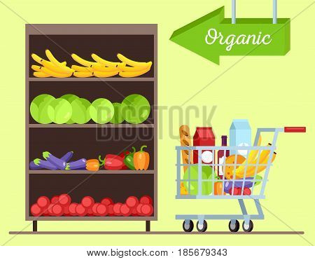 Fruits and vegetables shop. Green grocery stall. Food mall vector illustration. Fresh healthy vegetables in supermarket store. Vegetable shelf