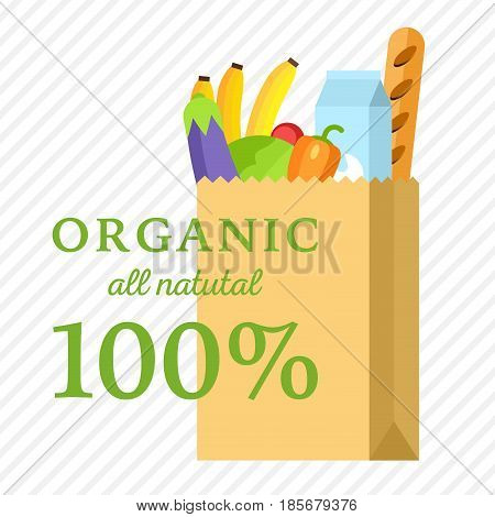 Kraft paper shopping bag with fresh vegetables meal. Flat vector illustration organic and natural food. Nature packet.