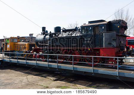 BERLIN - APRIL 21: Steam locomotive Borsig 9525 and Diesel engine