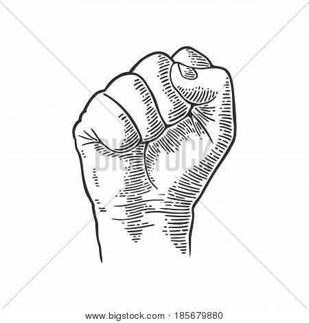 Human hand with a clenched fist. Vector black vintage engraved illustration isolated on white background. Hand sign for web poster info graphic