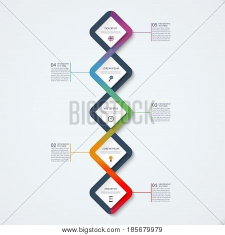 Infographic template of square elements. Business concept with 5 options steps parts segments. Vector banner for web timeline infographics workflow layout diagram chart annual report