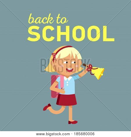 Pupil with school backpacks and with bell. Flat illustration of young girl ring the bell. Happy kid ready come back to school.