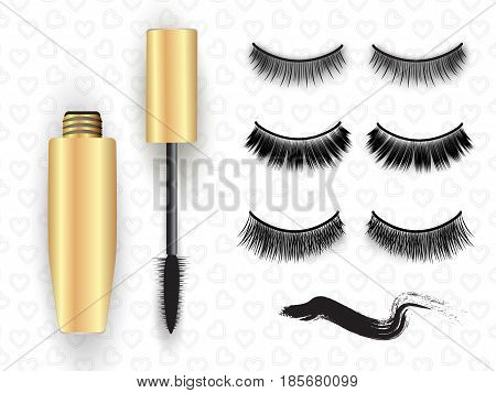 False eyelashes set, mascara tube, brush and black grunge swatch, vector illustration. Fake lashes, gold mascara, swatch. Woman's cosmetics concept on pattern with hearts.