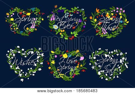Spring quotes on hearts of flowers wreath. Vector set for springtime holiday greetings. Blooming flowers of lily, tulips or spring daisy blossoms and berries, flourish daffodils, crocuses and violas