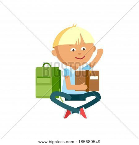 Pupil with school backpacks. Flat illustration of young boys reading a book. Happy kid ready come back to school.