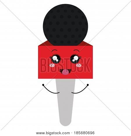 Journalism microphone comic character isolated icon vector illustration design