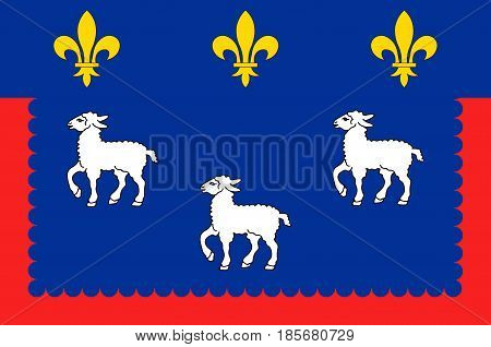 Flag of Bourges is the capital of the department of Cher in central France. Vector illustration