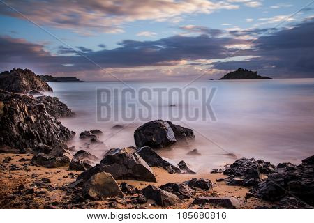 Long Exposure of Sunrise at Te Ngaere Bay Northland New Zealand Selective Focus