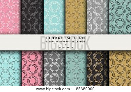 Vector set of design elements and icons patterns in trendy linear style for tea package - white, black and green tea. background, wallpaper in trendy linear style. Pattern for cafe, sweet-shop, pastry shop
