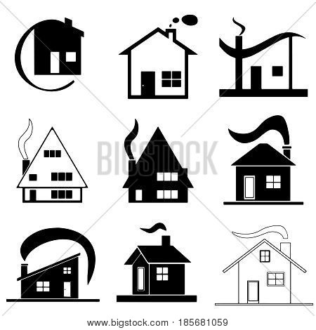 nine houses set vector - with smoke from chimney - architecture design concept