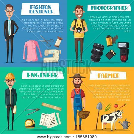 Professions of engineer, farmer, fashion designer and photographer. Vector ruler and measure tape, camera flash and film, dressmaker scissors and sewing thread, agriculture harvest and tractor