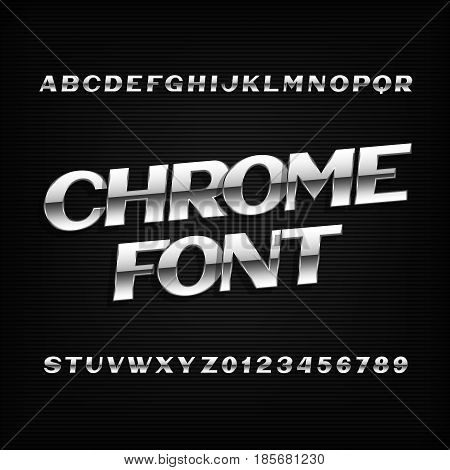 Chrome alphabet font. Metal effect letters and numbers on a dark background. Stock vector typeset for your design.