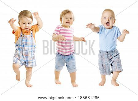 Baby Go Funny Kids Expression Playing Babies Isolated over White Background one year old children