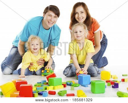 Family with Happy Kids Playing Building Blocks Two Parents with Children Play Toys over White Background
