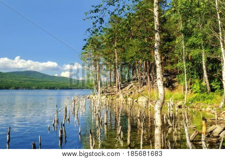 Summer water landscape. Lake Turgoyak lake and the coast of St.Faith Island in Southern Urals in summer -soft focus applied. Summer view of lake waters and summer birch trees. Summer water background. Summer nature view
