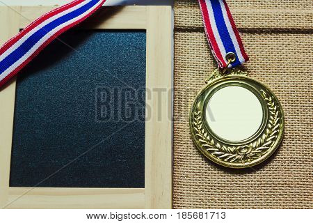 Blank Copy Space On Medal Prize With Blank Green Board With Weaving Background
