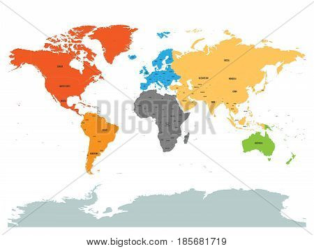 Political map of world with Antarctica. Continents in different colors on white background. Black labels with states and significant dependent territories names. High detail vector illustration.