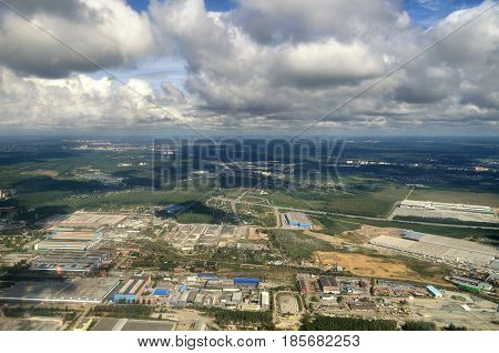 Aerial panorama of Yekaterinburg and landscape of the Southern Urals - panoramic aerial view in sunny weather. Aerial background of land surface. Aerial landscape in sunny day