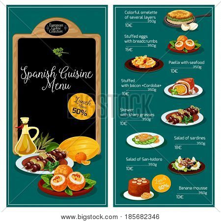 Spanish cuisine restaurant menu. Spain traditional meat hot dishes, soups and vegetable salads, snacks or appetizers and sweet desserts. Mediterranean food meal lunch discount offer price design