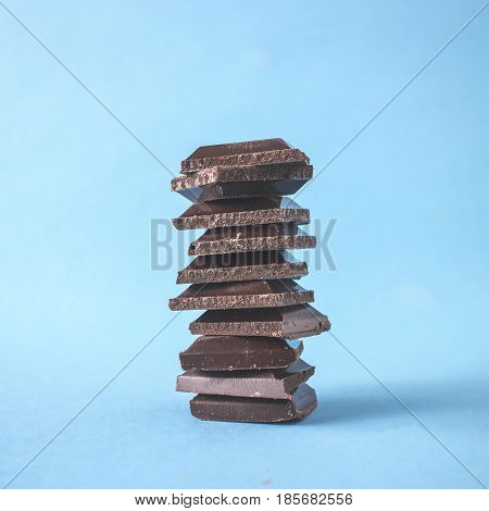 Organic Dark Chocolate Squares Stacked Close Up