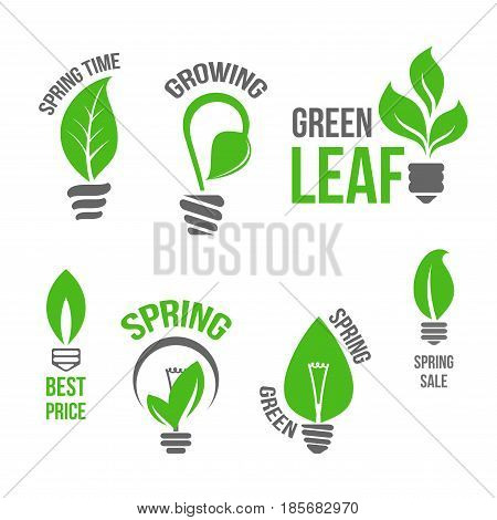 Spring Time vector isolated icons set of green leaf and plants sprouts or growing tendrils in shape of electric lamp light bulbs. Symbols of green energy for springtime promo sale design labels