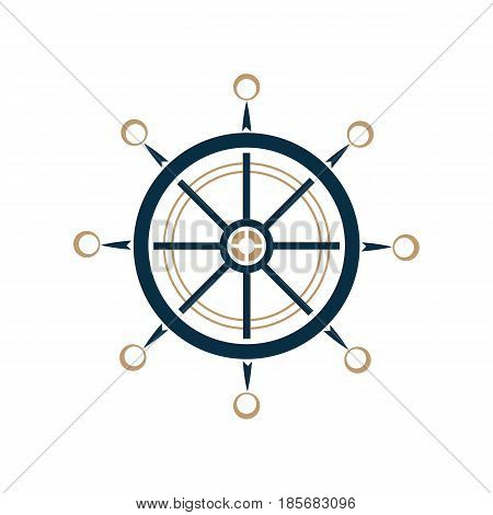 Nautical steering wheel vector icon. Ship helm