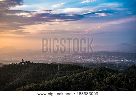 Barcelona Spain Sunset Landscape from Mountain Tibidado