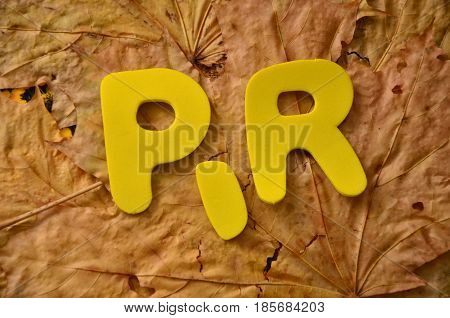 WORD PR ON A  ABSTRACT COLORFUL BACKGROUND