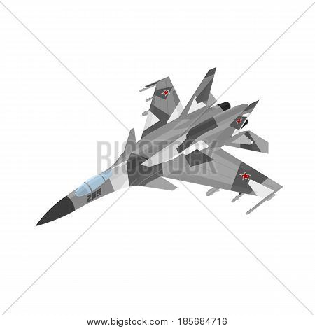 Russian jet fighter aircraft painted in gray with splinter-type spots. Isolated on white background.