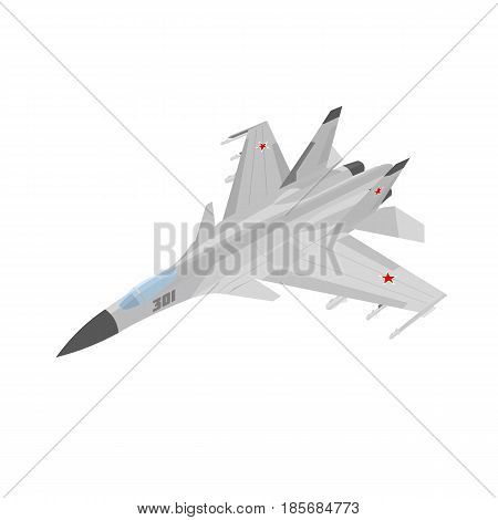Russian jet fighter aircraft painted in gray. Isolated on white background.
