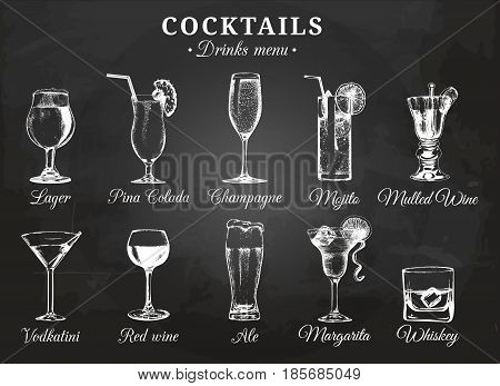 Cocktail glasses vector illustrations for drink menu. Hand drawn sketches set of alcoholic beverages beer, pina colada, mojito, margarita, vodkatini, champagne, mulled wine, red wine, whiskey etc.