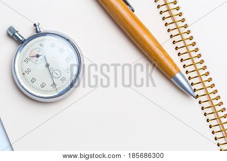 blank notepad for Todo list with pen and clock
