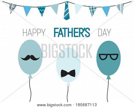 Happy Fathers Day funny balloons with mustache, glasses and bow tie, and banner with male patterns. Vector illustration.