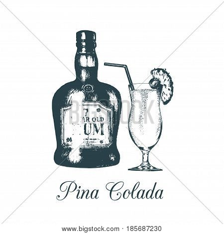 Hand sketched pina colada glass and rum bottle isolated. Alcoholic drink set drawing. Vector illustration of traditional cocktail for cafe, bar, restaurant menu.