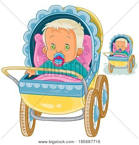 Vector illustration of a baby lies in a pram and sucks a pacifier. Print, template, design element