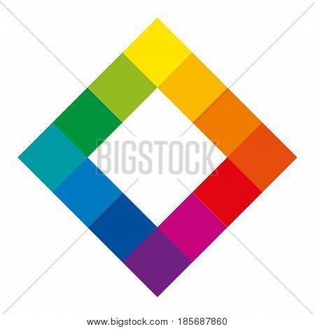 Twelve unique color hues of the color wheel in square shape showing the relationship between primary, secondary and tertiary colors. Complementary color mixing theory. Illustration over white. Vector.