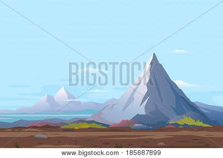 High mountain with sharp peak and green piedmont, nature landscape quality illustration background, place for travel