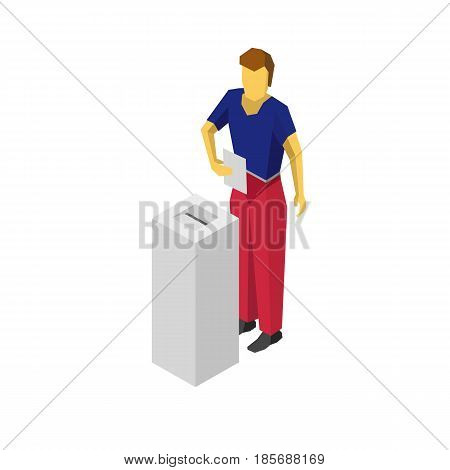 Man in blue and red put voting paper in election box. Isolated on white background. Isometric 3D vector clip art.