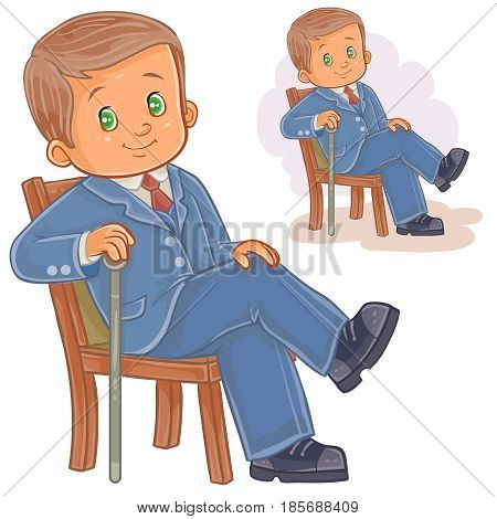 Vector illustration of a little boy dressed in retro suit sitting on a chair and holding a cane in his hand. Print, template, design element
