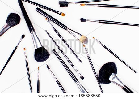 set of cosmetic brush High Angle view fashion and beauty tool set