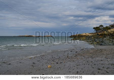 Very scenic look at a beach in Cohasset Massachusetts.