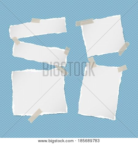 Pieces of ripped white note, notebook, copybook paper strips stuck with sticky tape on squared blue background
