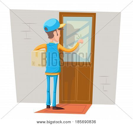 Express Courier Special Delivery Boy Man Messenger Cardboard Box Concept Knocking at Customer Door Wall Background Cartoon Retro Design Vector Illustration