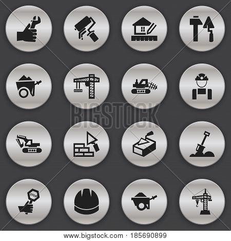 Set Of 16 Editable Structure Icons. Includes Symbols Such As Employee, Oar, Mule And More. Can Be Used For Web, Mobile, UI And Infographic Design.