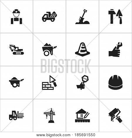 Set Of 16 Editable Building Icons. Includes Symbols Such As Endurance, Hardhat, Trolley And More. Can Be Used For Web, Mobile, UI And Infographic Design.