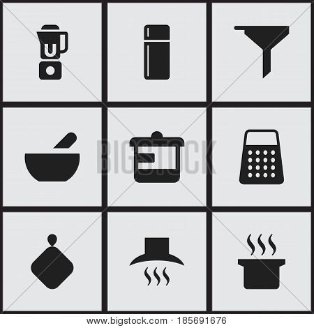 Set Of 9 Editable Cook Icons. Includes Symbols Such As Shredder, Hand Mixer, Utensil. Can Be Used For Web, Mobile, UI And Infographic Design.