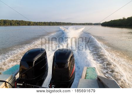 Wave Generated By Speed Boat Twin Engine In River