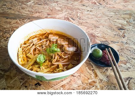 Authentic Sarawak Laksa Noodle With Prawn And Egg Strips