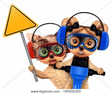 Funny couple of puppies with warning sign, protective goggles and earphones holding jackhammer, isolated on white. Teamwork and cooperation concept. Realistic 3D illustration